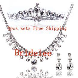 White diamond necklace bride wedding jewelry bridal crown three-piece wedding jewelry necklace wedding accessories