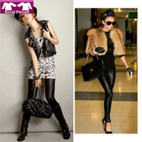 Foot Cover Women Leggings 2013 New Arrive Fashion Women Black Warm Winter Thicken Legging Faux Leather+Flix Slim Leggings Free Shipping 19015