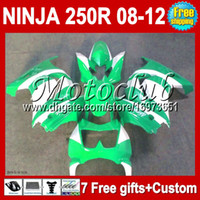 Wholesale 7gifts For Kawasaki green Ninja R ZX250 ZX green white ZX250R Fairing New