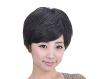 Wholesale 3029 black machine made can be used for medical fashion short human hair wigs women wigs men wigs Maintenance Free can blow and dyed