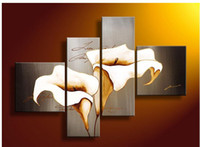 Wholesale 4 Piece Wall Art No Framed Modern Abstract Acrylic Flower Calas Gray Oil Painting On Canvas Contemporary Pictures Decor