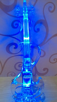 Wholesale 2014 Full Transparent Acrylic Electric Violin with best LED light