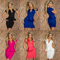 Casual Dresses V_Neck Sheath Free Shipping Sexy Women's Low-cut V Neck Evening Club Party Mini Dress OL Peplum Bandage Dresses Big Size S M L XL 5 Colors