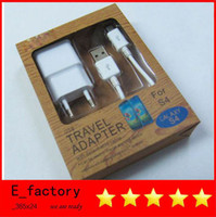 Wholesale 2 in US EU Home Wall Charger Adapter USB Data Cable Cord Charging Line for SAMSUNG GALAXY travel charger S3 s4 S note i s