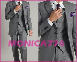 Wholesale New Quality Light Grey prom Suits Two Buttons Notch Lapel Groom Tuxedos Bridegroom Men slim strip Suit Set Jacket Pants Vest MM017