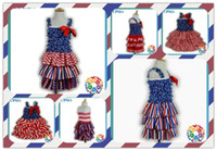 Wholesale Independence day baby dresses th of july girls dress with ribbon bow kids blue white stars dresses DHL free