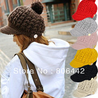 Wholesale Women s Wool Winter Hat Thick Line Hat Ball Cute Hat Warm Flight Hat Peaked Cap