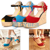 Cheap Fashion Women's Pumps Platform High Heel Wedges Sandals Ankle Strap Shoes Black, Red, Blue 13376