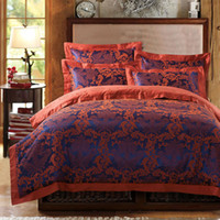 Wholesale fast shipping Brand new Satin jacquard pc bedding set silk luxury bedspread king queen adults bed linens Duvet Quilt cover sets