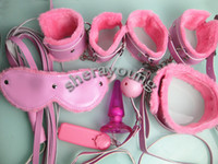 Cheap PU Sex Slave Bondage Restraints Kit BDSM Handcuffs Leg cuffs Neck Collar Eye Mask Whip Ball Gag Anal Plug Female 7-in-1 XLY1077