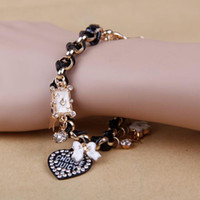 Wholesale Women Lady Multi Pendant Heart Bowknot Poker Stars Inlay Rhinestone Bracelet Bangle