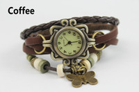 Wholesale 50pcs New Fashion Women Genuine Leather Vintage watch Wrist butterfly watches wing leaf quartz Colorful Wristwatches H20