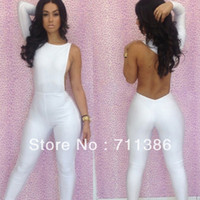 100% Linen Shorts Women New Fashion 2013 Sexy Jumpsuit White ,Black Overalls for Women Hollow Out Bodysuit Backless Elegant Jumpsuits FREE SHIPPING 5049