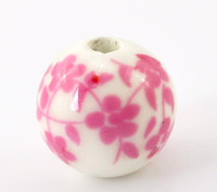 Wholesale 201430PCs Fuschia Flower Pattern Round Ceramic Beads mm quot Dia