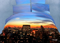 Cheap Promotion 3d Oil Painting Seashell Sunset City Beach Castle Printed Bedding Set Linen Queen Size Bed sets