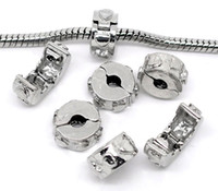 Wholesale 201410PCs Silver Tone Ring Stopper Clips amp Locks Fix Charm Bracelet mm