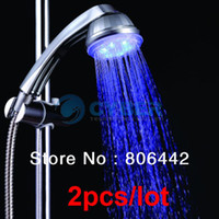 Wholesale 2PCS NEW LED Light Wall Mount Showers Head Water Bathroom RGB Colors A12