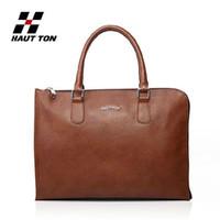 Wholesale Hautton fashion men handbag cowhide High quality genuine leather general unisex ultra thin women inch laptop bag