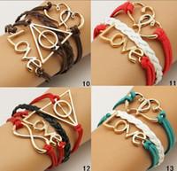 Bohemian alloy double discount - 24 STYLE Ancient gold multilayer bracelet LOVE infinity double heart Harry Potter suede leather bracelet discount P