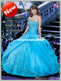 Wholesale Sexy Sweetheart Beaded Crystal Hunter Organza Sweet Quinceanera Dresses Embroidery Ruffles Ball Gown Party Prom Dress