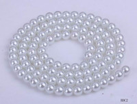 Bohemian beaded chain crafts - Round Glass Faux Pearl White Spacer Loose Beads Charms Fit Bracelet Necklace Chain Jewelry Craft Making Dia mm roll S BDC2