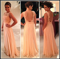 Cheap 2014 Vestidos De Noiva Prom Dresses Backless Evening Gowns Jewel Neck Sheer Lace Beads Capped Sleeves Floor Length Bridesmaid Brides Maid Dr