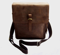 Wholesale FREE SHIP Price Men s Brown Rare Full Grain Crazy Horse Leather Real Leather shoulder bag Messenger Bag Leisure Briefcase M133