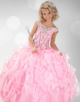 Cheap 2014 Girl's Pageant Dresses Girls Custom Made Crystals Pink Ball Gown Shiny Long Girl Princess Birthday Party Pageant Child Size 2-14