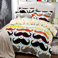 Wholesale Mustache bedding comforter set twin full queen king size duvet cover quilt bed linen fitted sheet bedspread bedclothes designs