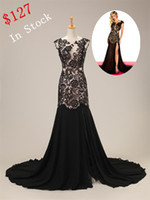 Wholesale In Stock Cheapest Prom Dresses Jewel Lace Sheath Open Back Sweep Train Black Sexy Night Party Gown Evening Gowns