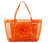 beautiful beach bags - Transparent PVC Beach Gauze Bag Fashion Handbags With Beautiful Flower