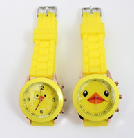 al por mayor reloj amarillo ginebra-20pcs Nuevo color lindo del caramelo de la jalea del silicón de Ginebra pato amarillo modelo del reloj de manera de las señoras de los relojes del cuarzo de los niños