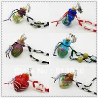 Bohemian aromatherapy pendant - Colored glaze sexy print essential oil bottle necklace pendant with bead aromatherapy bottle necklace accessory