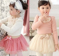 2014 New Spring Ruffles Applique Long Sleeve Shirt + Bow Pea...