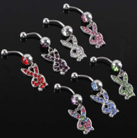 Wholesale Playboy Belly Button Rings L Surgical Steel Navel Full Rhinestones Rabbits Body Piercing Jewelry