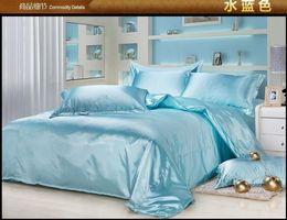 Luxury aqua blue silk bedding set king size queen full twin duvet cover quilt bed in a bag sheet bedspread bedroom linen satin bedsheet 4pcs