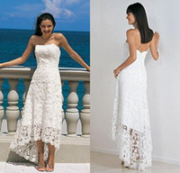 Wholesale Cheap Custom Sheath Strapless Short Front Long Back Hi lo Lace Bridal Dress New Model High Low Beach Wedding Dress DL1310194