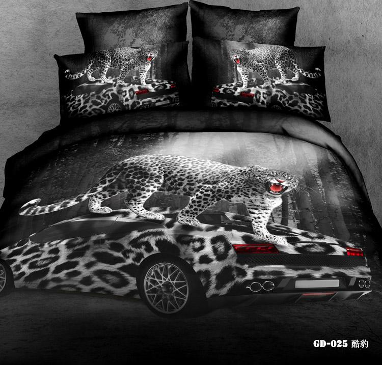 3d Leopard Print Race Car Bedding Comforter Set Queen King