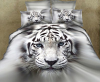 Adult 100% Cotton Woven 3D White tiger bedding comforter set print queen king size comforters duvet cover quilt bed linen sheet bedspread cotton