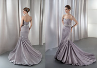 Cheap 2014 Demure Pleated Sweetheart Taffeta Pearl Mermaid Wedding Dress Beads Crystal Sash Custom Made Bridal Gown Demetrios GR226
