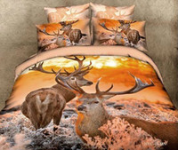 Adult 100% Cotton Woven 3D Reindeer David's deer bedding set queen size comforter duvet cover bed linen sheet quilt bedcloth bedspread bedsheet elk