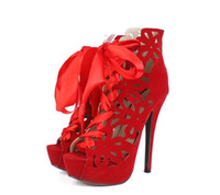 Wholesale Red Wedding Shoes Gladiator Sandal Boots Super High Heel Hollow Out Red Black Ankle Bootie