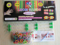 Cheap Rainbow loom kit rainbow loom DIY rubber wrist bands bracelets with(600 pcs bands+24 pcs clips+1 pcs Hook+1 pcs shell