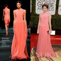 Wholesale 2014 Coral Prom Dresses Sarah Hyland st Annual Golden Globe Awards Sleeveless Chiffon With Belt Evening Gowns Celebrity Dresses