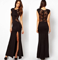 Wholesale Vintage Robes Dress Lace Split Long Dresses Plus size XXXXL Black Lace Dress Ankle Length Women Open Back Bodycon Red Tunics vestidos