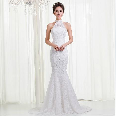 Modern mermaide wedding dress pearls lace sleeveless for Mermaid wedding dresses under 500