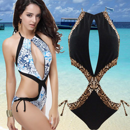 Wholesale Newest Gorgeous One Piece Halter Monokini Swimwear Sexy Straps Black Women Bathing Suite Lace tie Padded Girl Lady Beachwear Swimsuit T120