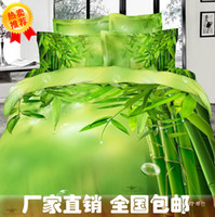 Cheap Bamboo print green bedding comforter set queen king size duvet cover quilt bed linen fitted sheet bedspread 100%cotton bedsheet