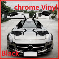 Wholesale 1 pc M Black chrome vinyl chrome car wrap electroplate vinyl film chrome car sticker with bubble free FREESHIPPING TTT