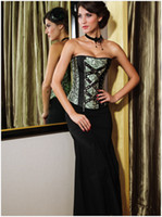 Wholesale Fashion Women Sexy Corset Gothic Trim Court Style Light Green Corset Boat Neck Lose Waist Narrow Waist Body Shapers Iron Chain Design